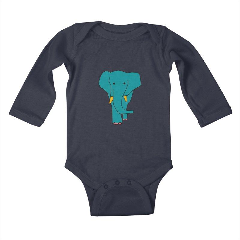 Elephant Kids Baby Longsleeve Bodysuit by the lady ernest ember's Artist Shop