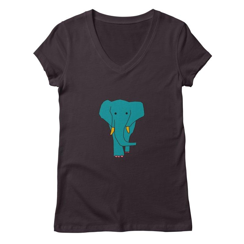 Elephant Women's Regular V-Neck by the lady ernest ember's Artist Shop