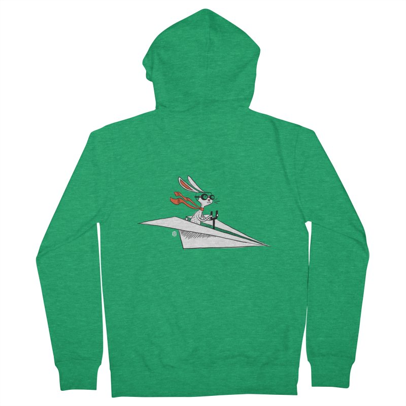 Paper Hare Plane Women's Zip-Up Hoody by theloulander's Artist Shop