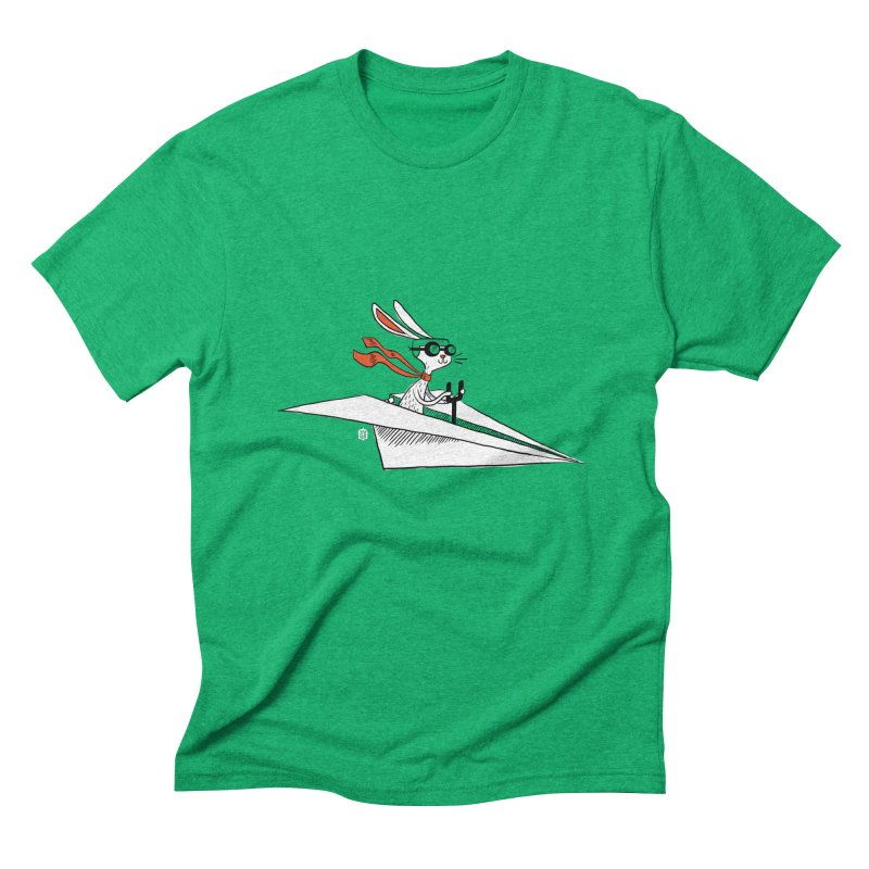 Paper Hare Plane Men's Triblend T-shirt by theloulander's Artist Shop