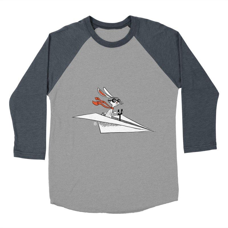 Paper Hare Plane Men's Baseball Triblend T-Shirt by theloulander's Artist Shop