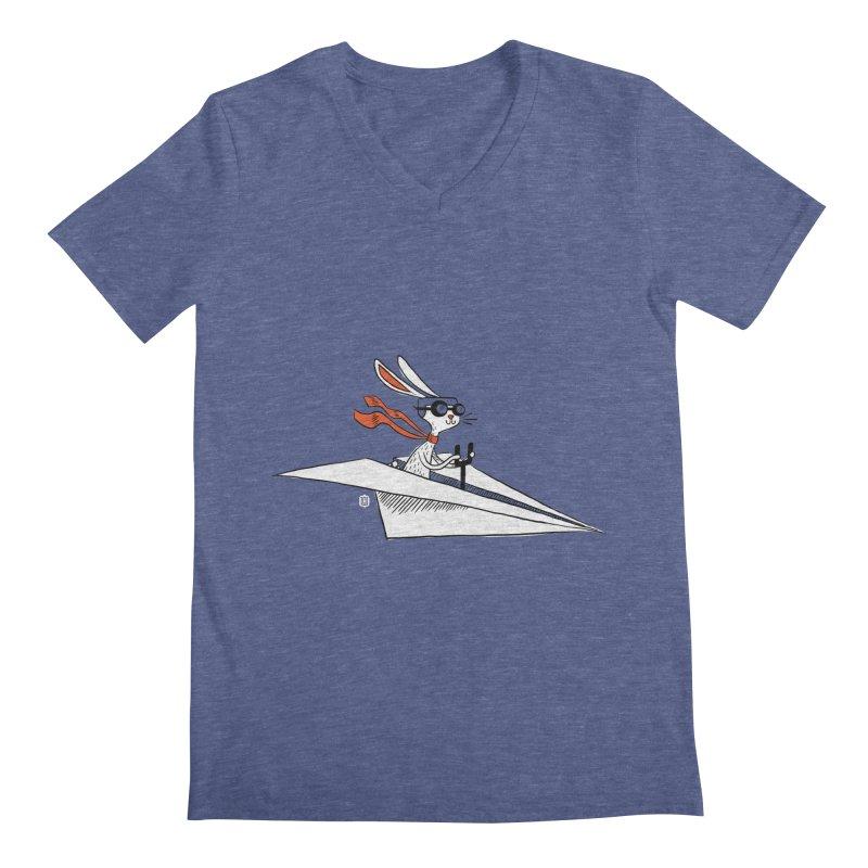 Paper Hare Plane Men's V-Neck by theloulander's Artist Shop
