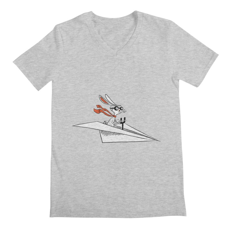 Paper Hare Plane Men's V-Neck by theloulander's Artist Shop