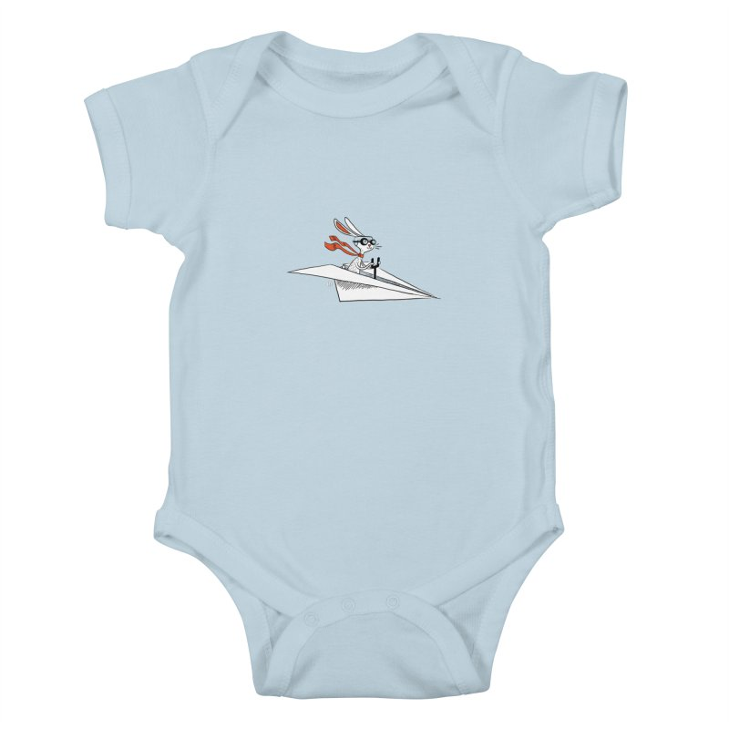 Paper Hare Plane Kids Baby Bodysuit by theloulander's Artist Shop