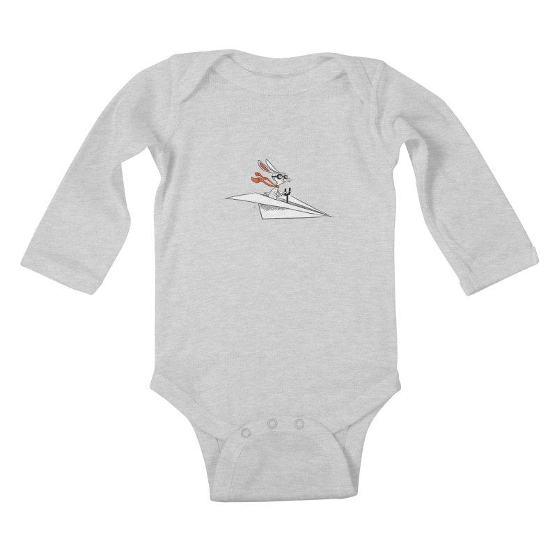 Paper Hare Plane Kids Baby Longsleeve Bodysuit by theloulander's Artist Shop