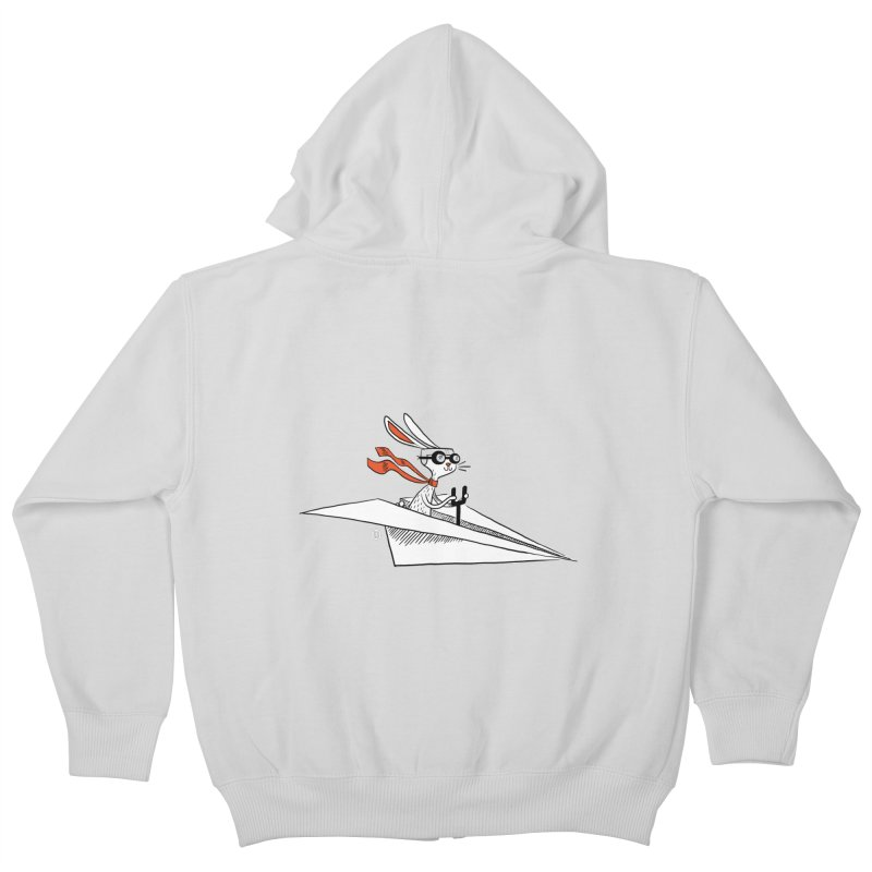 Paper Hare Plane Kids Zip-Up Hoody by theloulander's Artist Shop