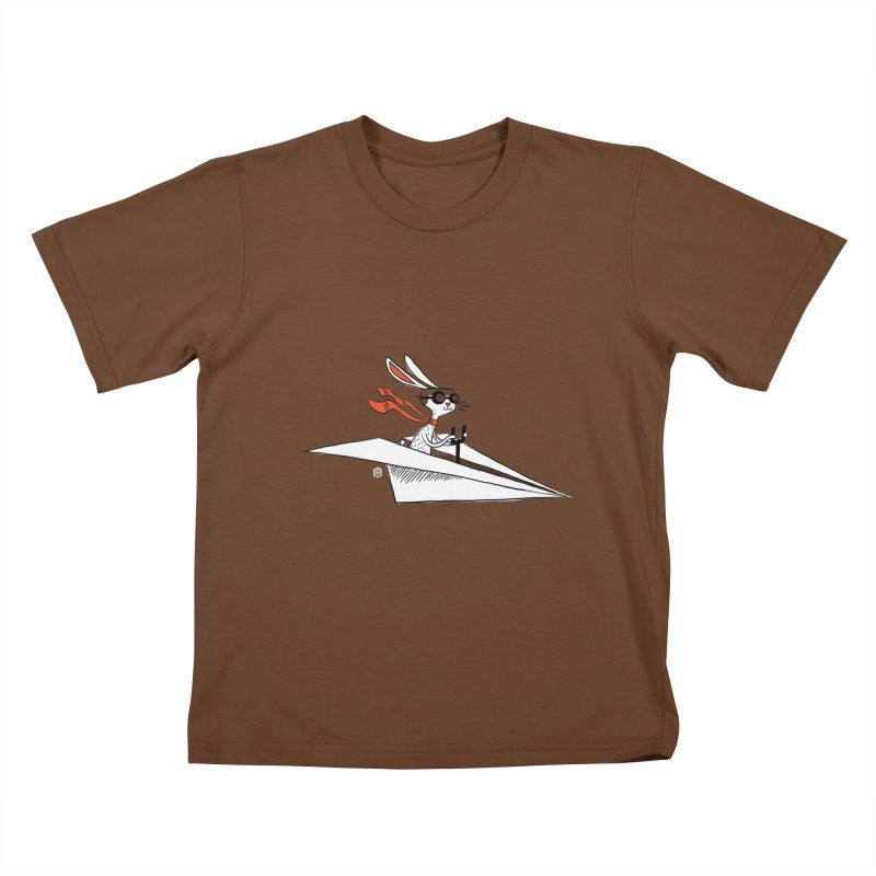 Paper Hare Plane Kids T-shirt by theloulander's Artist Shop