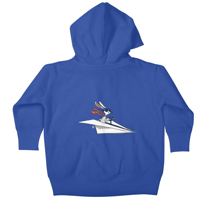 Paper Hare Plane Kids Baby Zip-Up Hoody by theloulander's Artist Shop