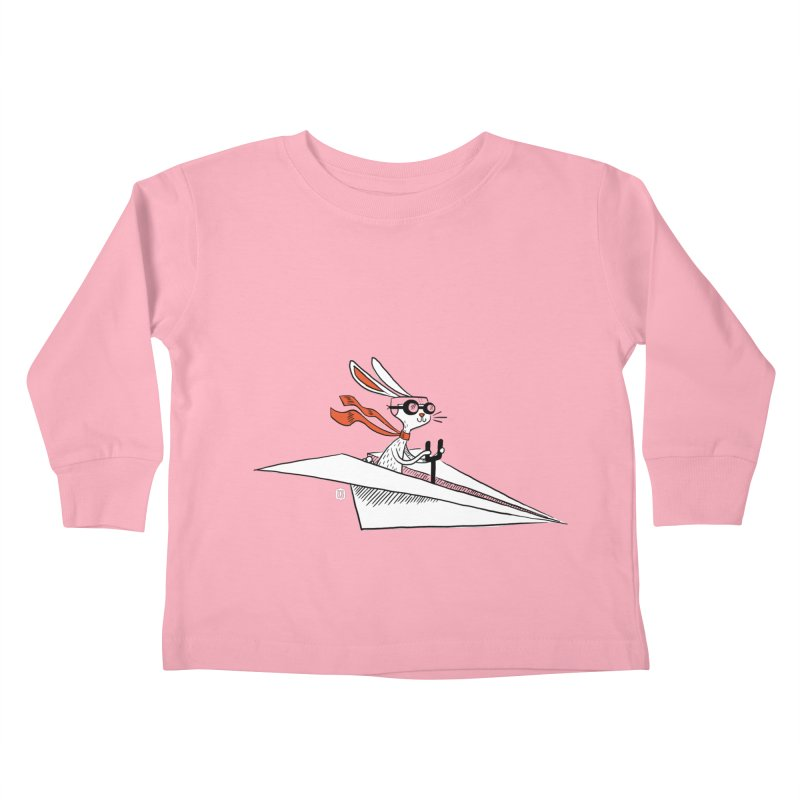 Paper Hare Plane Kids Toddler Longsleeve T-Shirt by theloulander's Artist Shop