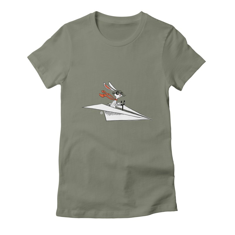 Paper Hare Plane Women's Fitted T-Shirt by theloulander's Artist Shop