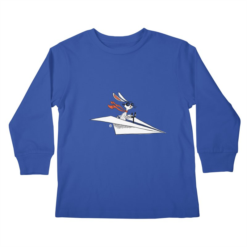 Paper Hare Plane Kids Longsleeve T-Shirt by theloulander's Artist Shop