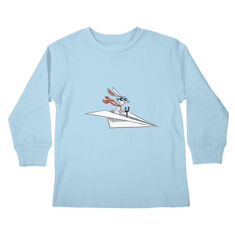 Paper Hare Plane Kids Longsleeve T-Shirt by theloulander's Artist Shop