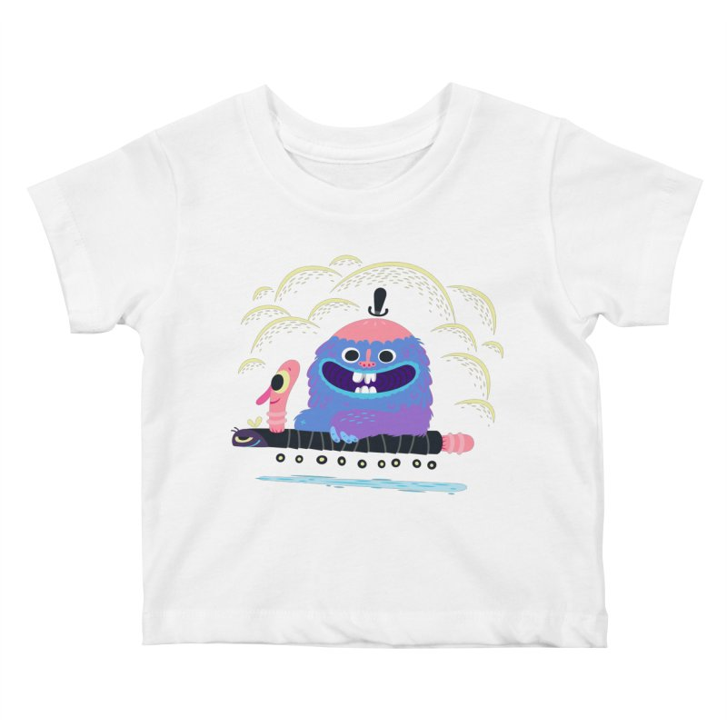 Worm Chauffeur Kids Baby T-Shirt by The Lurid Tusk
