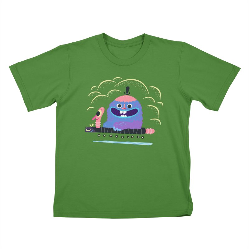 Worm Chauffeur Kids T-Shirt by The Lurid Tusk