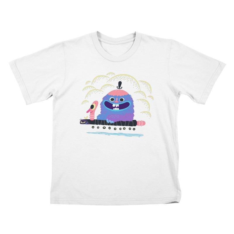 Worm Chauffeur Kids T-Shirt by The Lurid Tusk