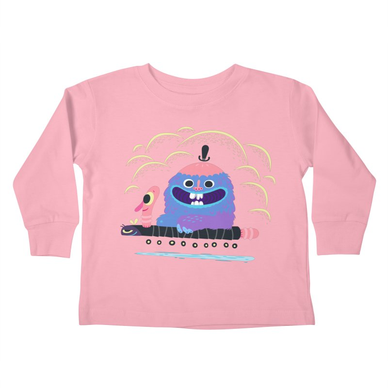 Worm Chauffeur Kids Toddler Longsleeve T-Shirt by The Lurid Tusk