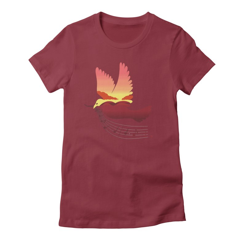 Musical Sunset Women's Fitted T-Shirt by theo86's Artist Shop