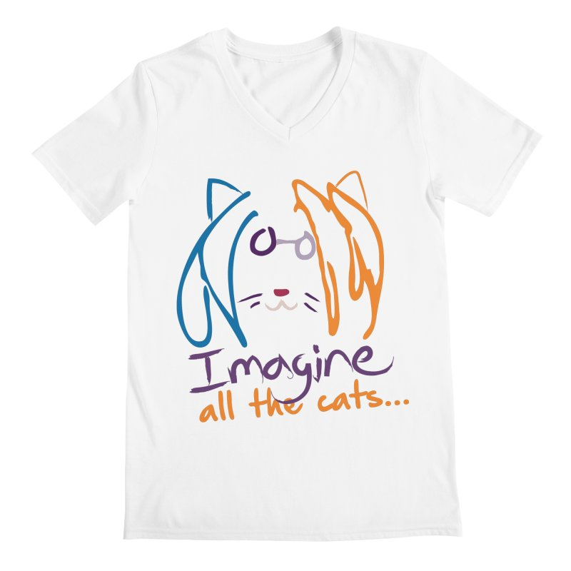 Imagine All The Cats Men's V-Neck by The One Designer MERCH