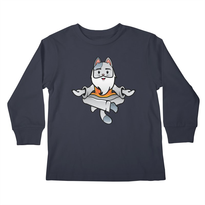 Vector Guru Cat Kids Longsleeve T-Shirt by The One Designer MERCH