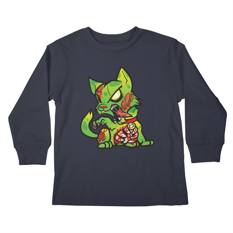 Zombie Cat Kids Longsleeve T-Shirt by The One Designer MERCH