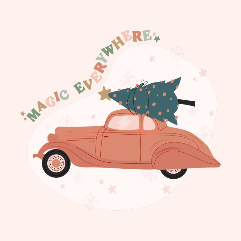 Magic Everywhere / Car with Christmas Tree Accessories Mug by The Optimist