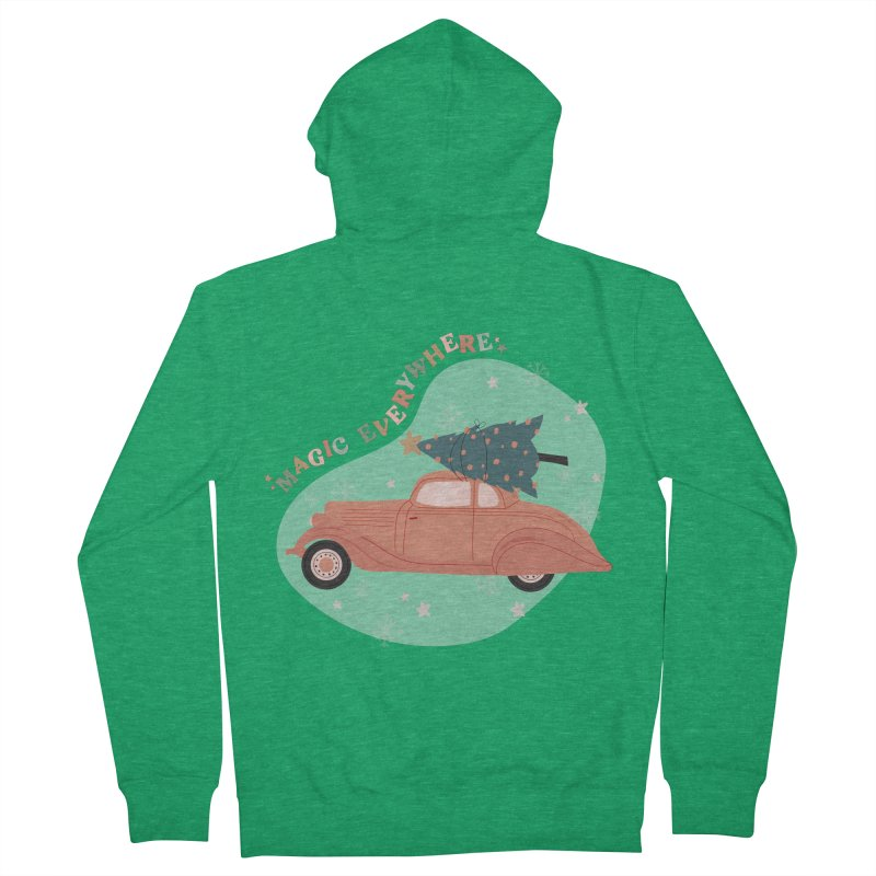 Magic Everywhere / Car with Christmas Tree Women's Zip-Up Hoody by The Optimist