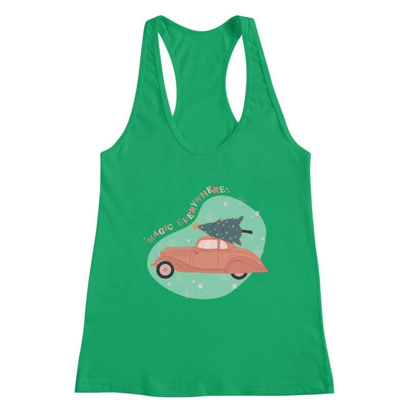 Magic Everywhere / Car with Christmas Tree Women's Tank by The Optimist