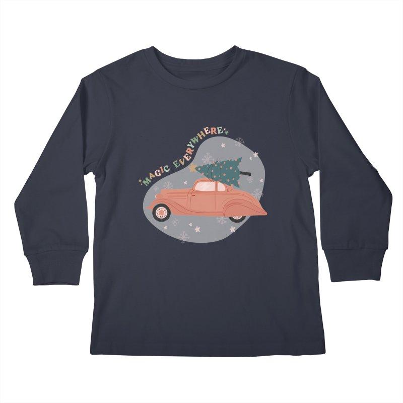 Magic Everywhere / Car with Christmas Tree Kids Longsleeve T-Shirt by The Optimist