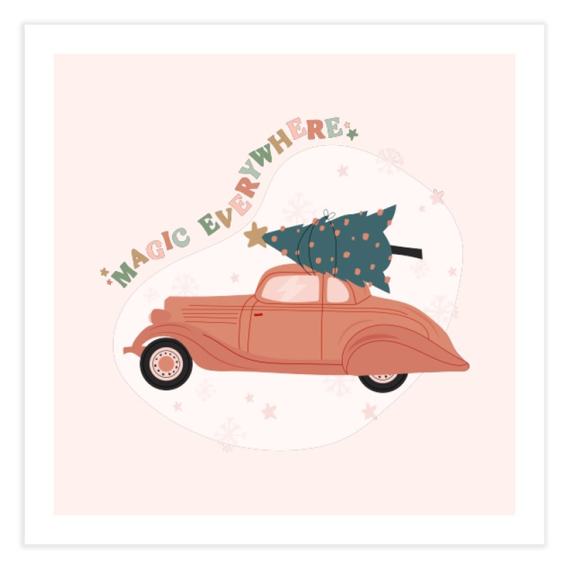 Magic Everywhere / Car with Christmas Tree Home Fine Art Print by The Optimist