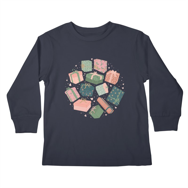 Christmas Gifts in Pink & Green Kids Longsleeve T-Shirt by The Optimist