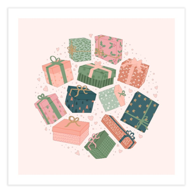 Christmas Gifts in Pink & Green Home Fine Art Print by The Optimist