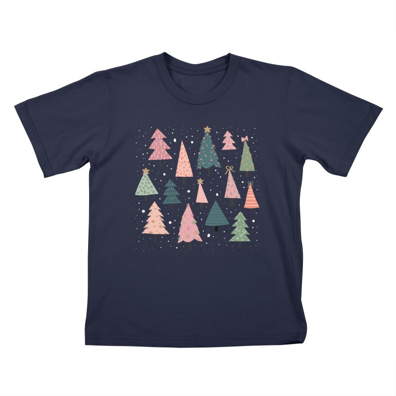 Christmas Trees  in Pink & Green Kids T-Shirt by The Optimist