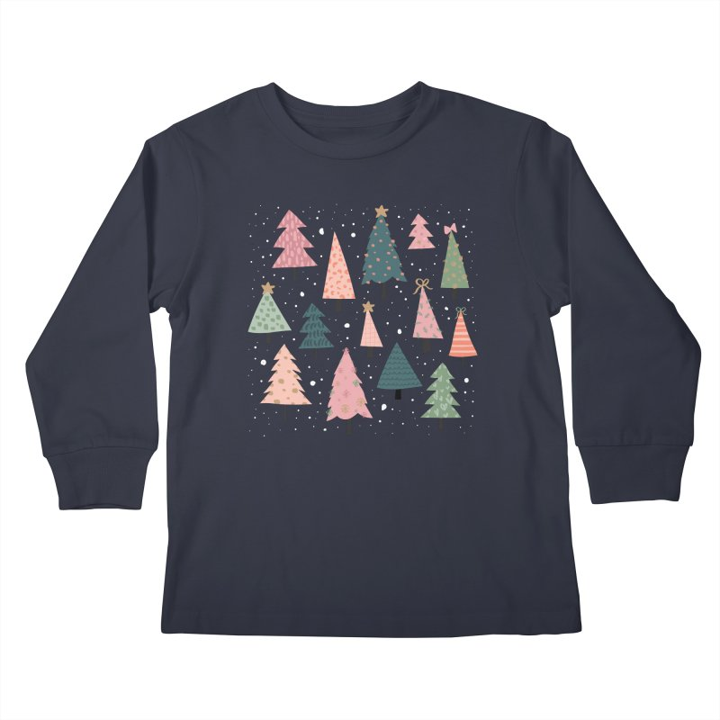 Christmas Trees  in Pink & Green Kids Longsleeve T-Shirt by The Optimist
