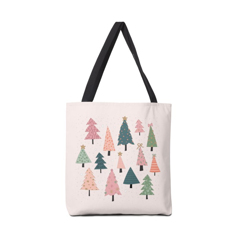 Christmas Trees  in Pink & Green Accessories Bag by The Optimist