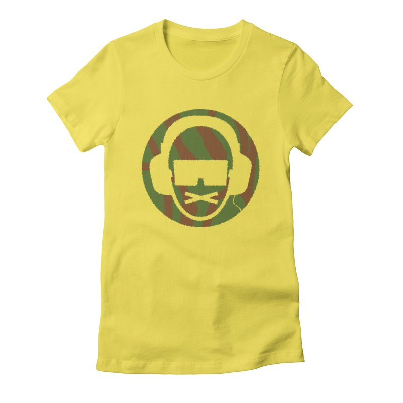 camo 3 in Women's Fitted T-Shirt Vibrant Yellow by thr3ads