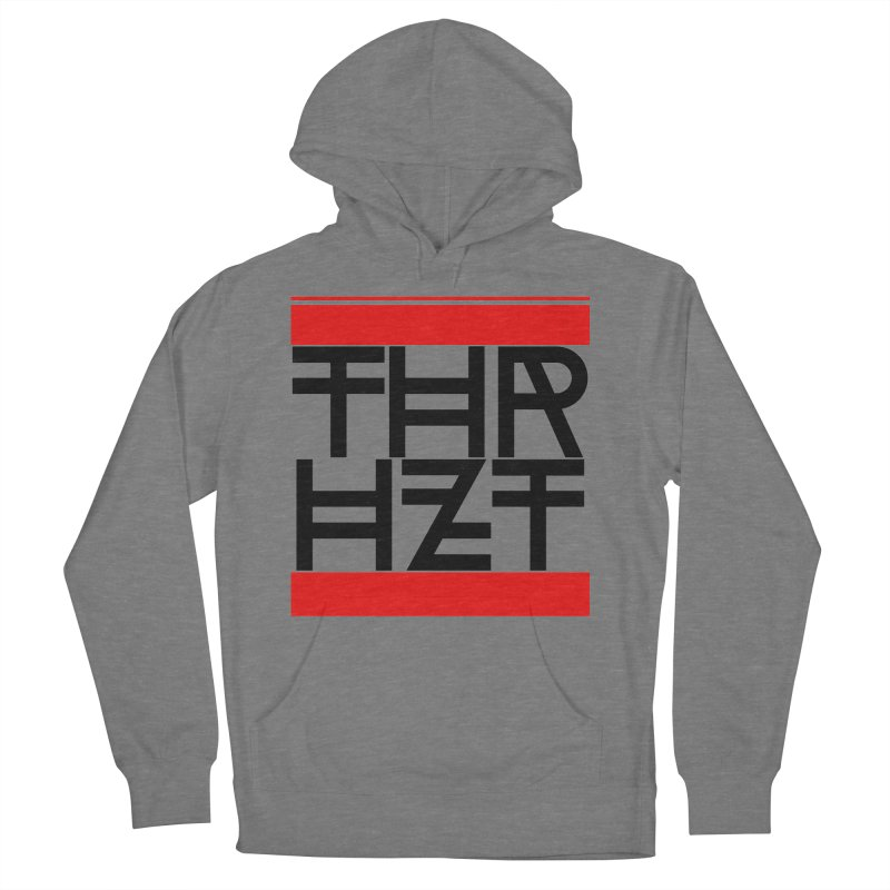 thr3e dmc black in Men's French Terry Pullover Hoody Heather Graphite by thr3ads