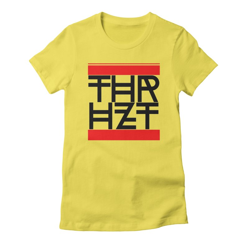thr3e dmc black in Women's Fitted T-Shirt Vibrant Yellow by theoryhazit's Shirt Shop