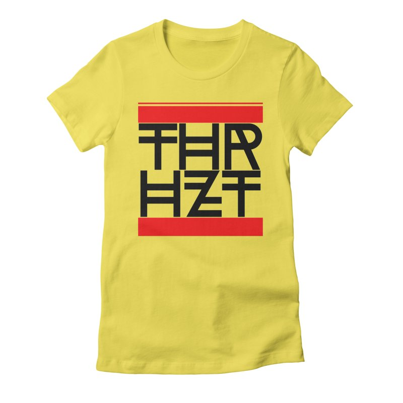 thr3e dmc black in Women's Fitted T-Shirt Vibrant Yellow by thr3ads