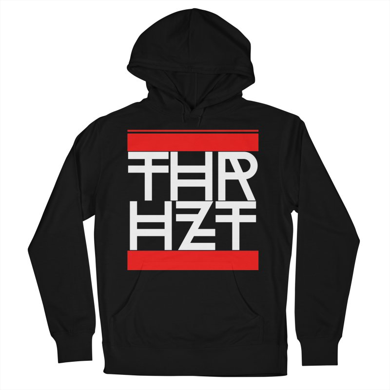 thr3e dmc white in Men's French Terry Pullover Hoody Black by theoryhazit's Shirt Shop