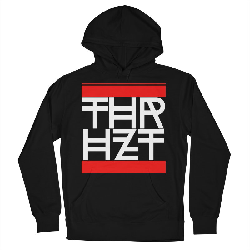 thr3e dmc white in Men's French Terry Pullover Hoody Black by thr3ads