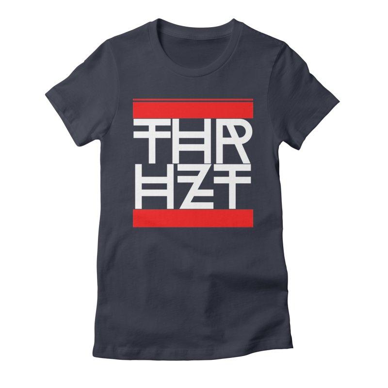 thr3e dmc white Women's Fitted T-Shirt by thr3ads