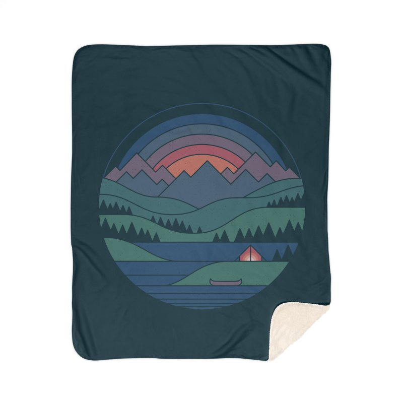 The Lake At Twilight Home Sherpa Blanket Blanket by thepapercrane's shop