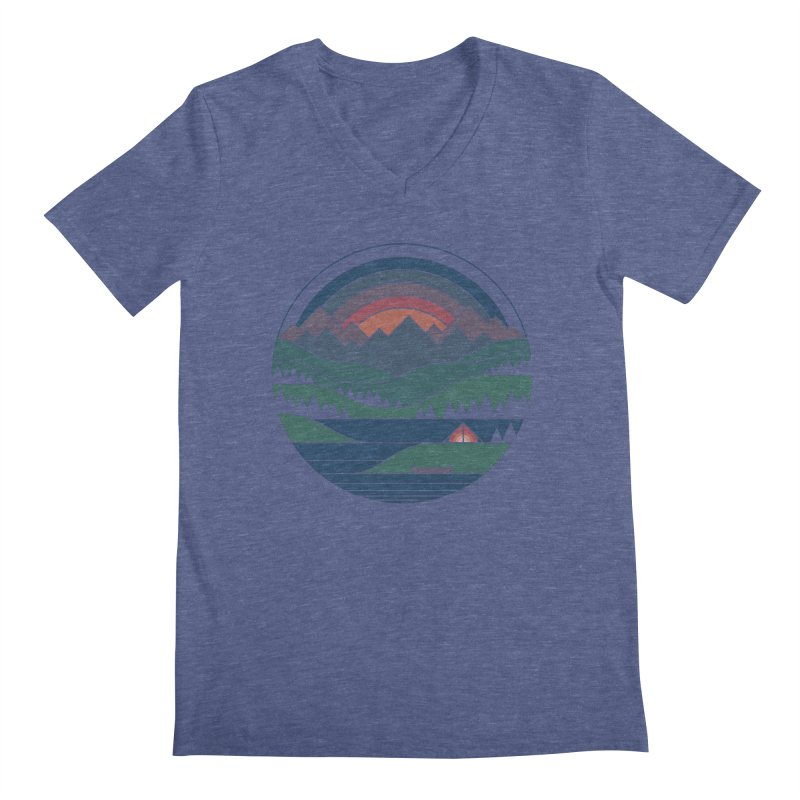 The Lake At Twilight Men's Regular V-Neck by thepapercrane's shop