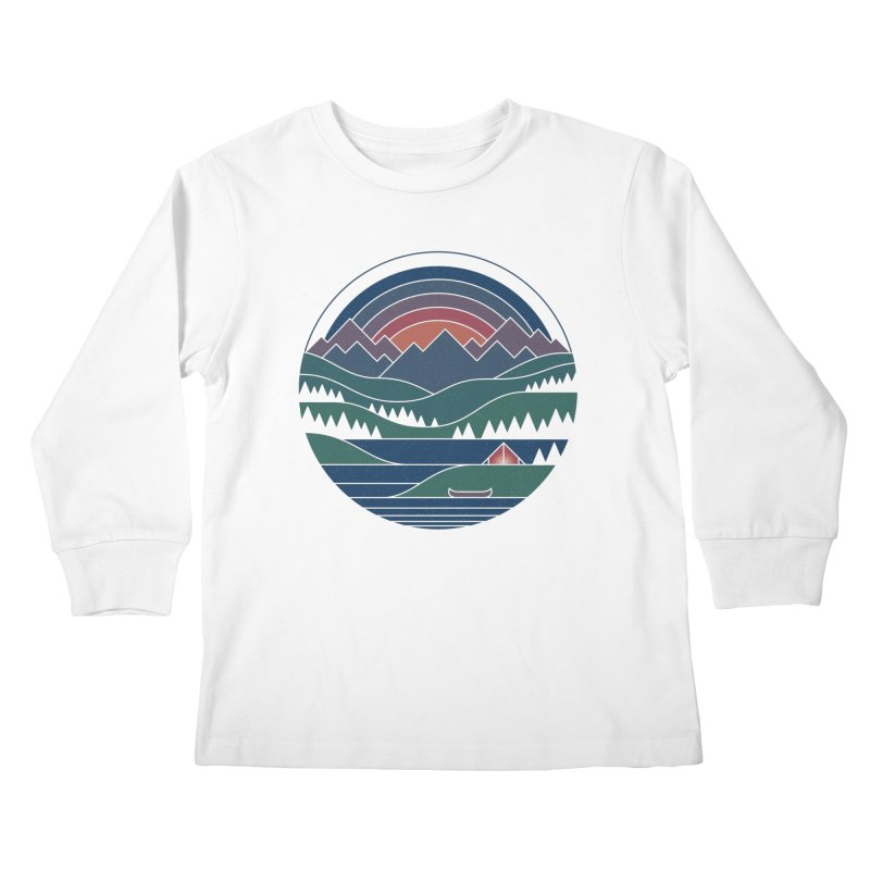 The Lake At Twilight Kids Longsleeve T-Shirt by thepapercrane's shop