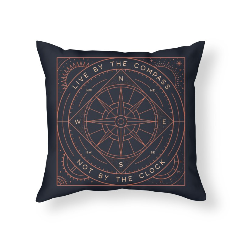 Live By The Compass Home Throw Pillow by thepapercrane's shop