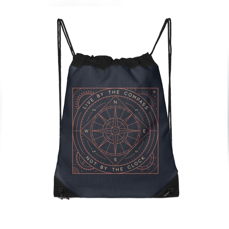 Live By The Compass Accessories Drawstring Bag Bag by thepapercrane's shop