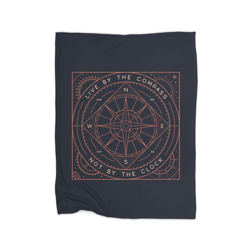 Live By The Compass Home Fleece Blanket Blanket by thepapercrane's shop