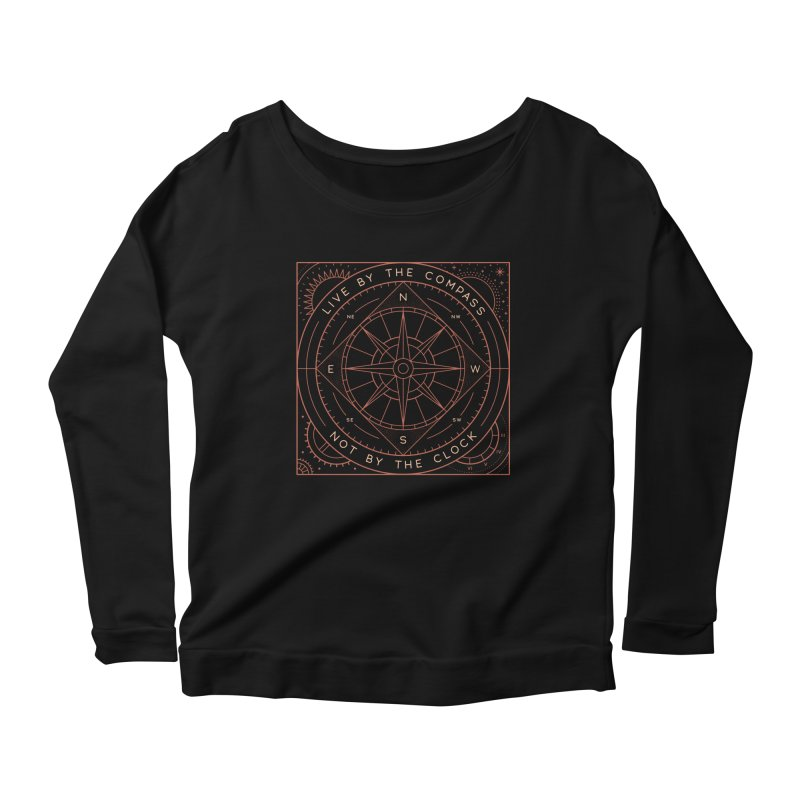 Live By The Compass Women's Scoop Neck Longsleeve T-Shirt by thepapercrane's shop