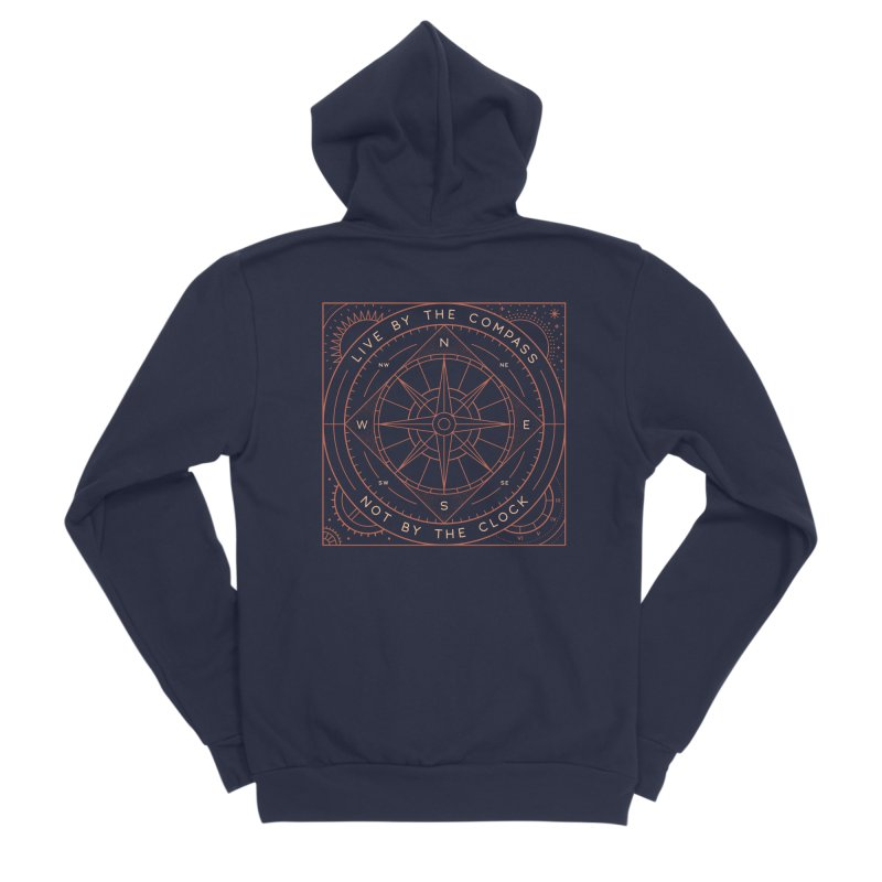 Live By The Compass Men's Sponge Fleece Zip-Up Hoody by thepapercrane's shop