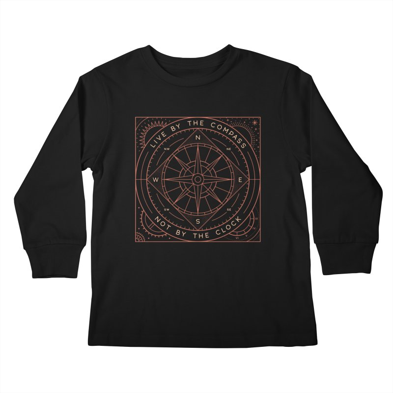 Live By The Compass Kids Longsleeve T-Shirt by thepapercrane's shop